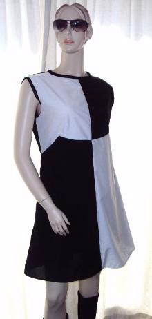60's Mini Dress Black and White all sizes avaialable